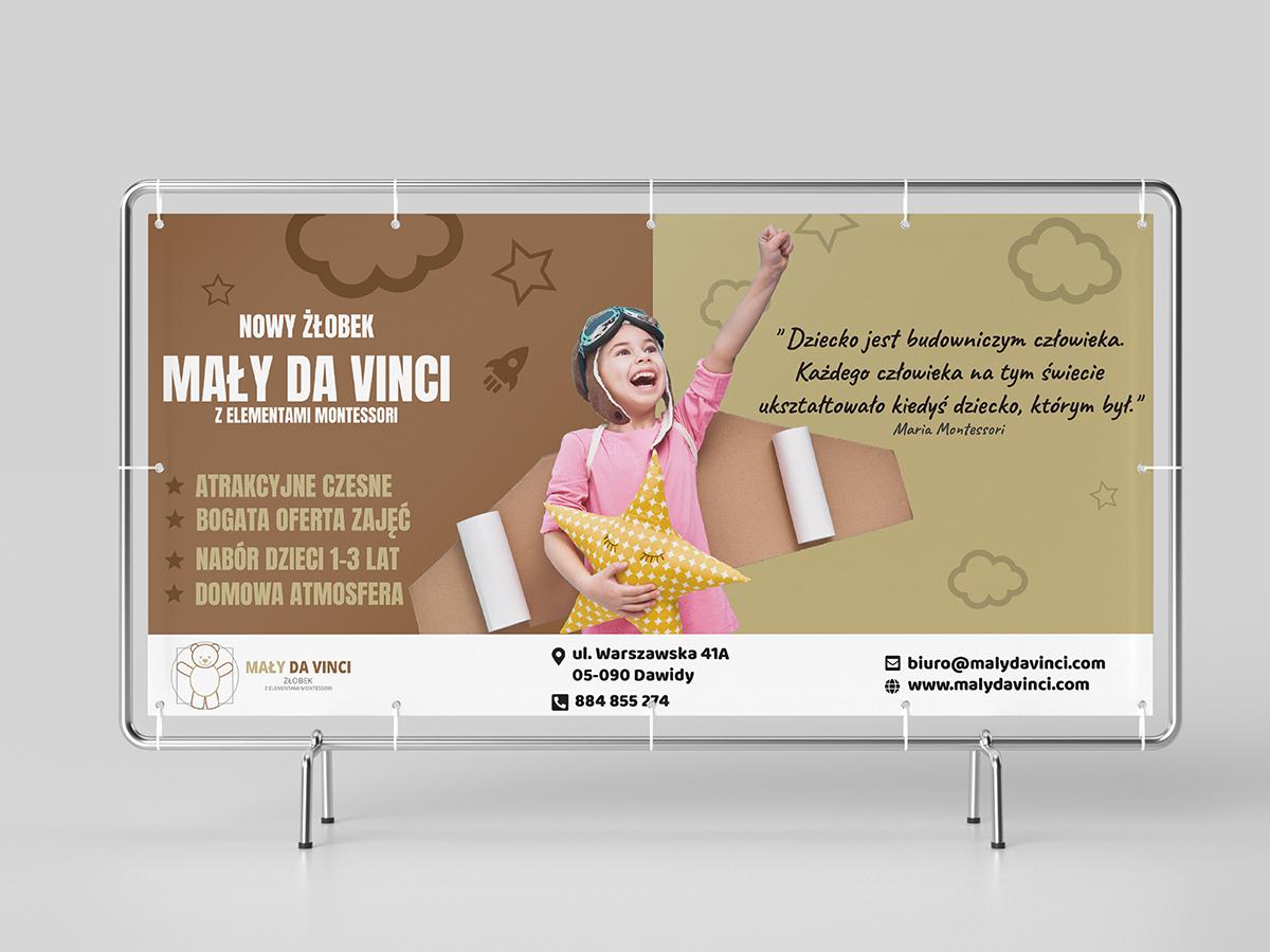rainbow multimedia baner reklamowy 200x100 cm mały da vinci projekt graficzny
